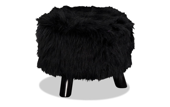 Midnight Faux Fur Footstool