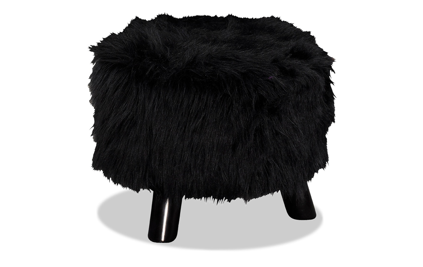 Midnight Faux Fur Foot Stool