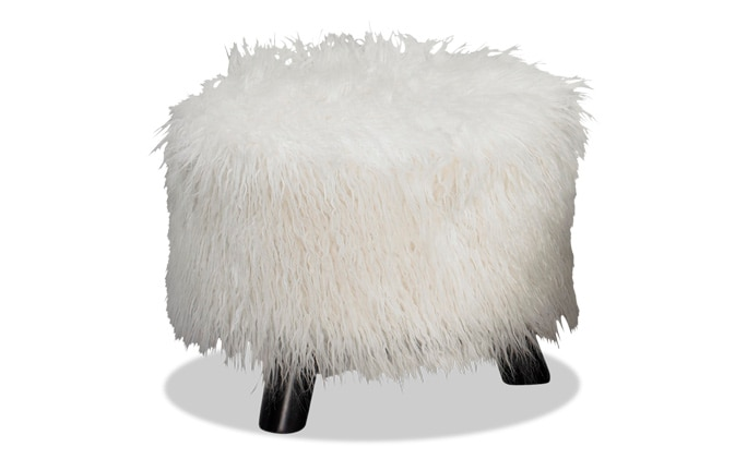 Snow Faux Fur Footstool