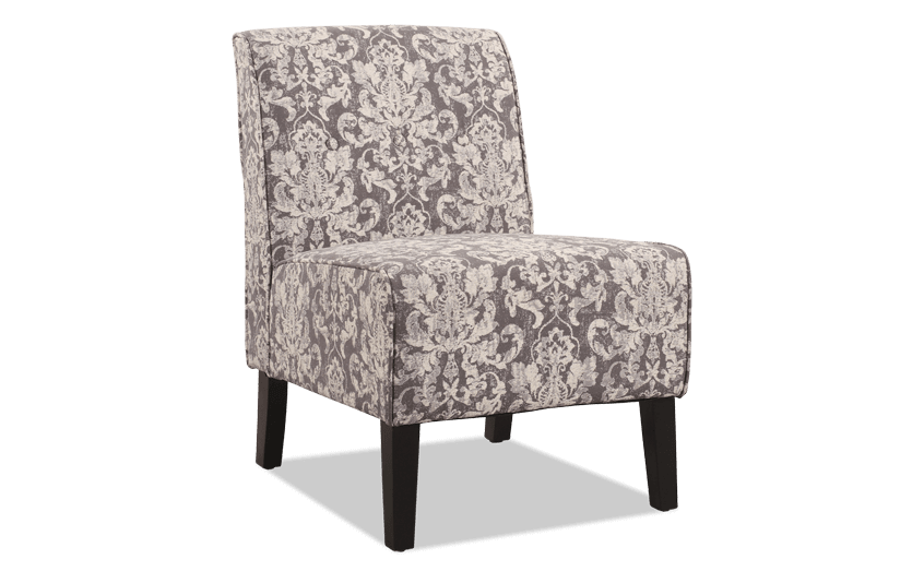 Gray Damask Accent Chair
