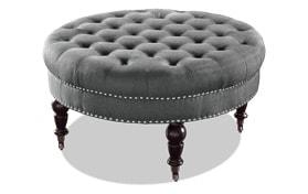 Delfina Charcoal Round Ottoman