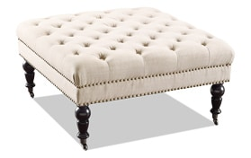 Delfina Natural Square Ottoman