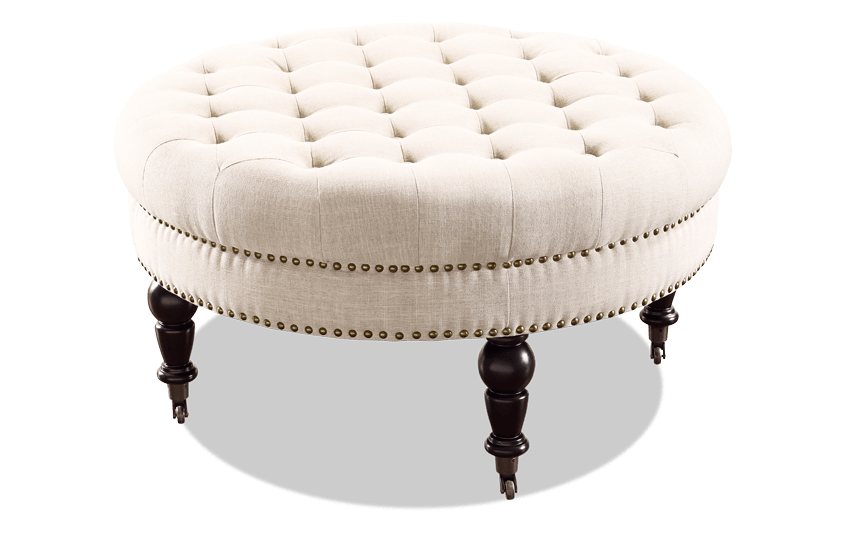 Delfina Natural Round Ottoman