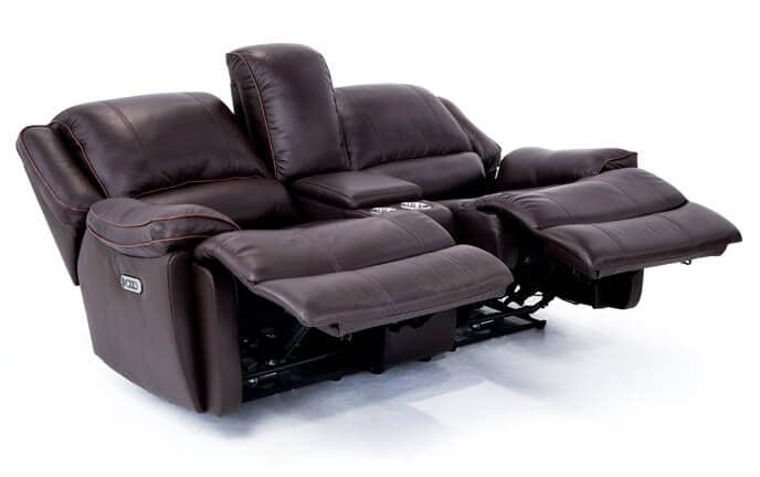 Phoenix Leather Power Reclining Console Loveseat