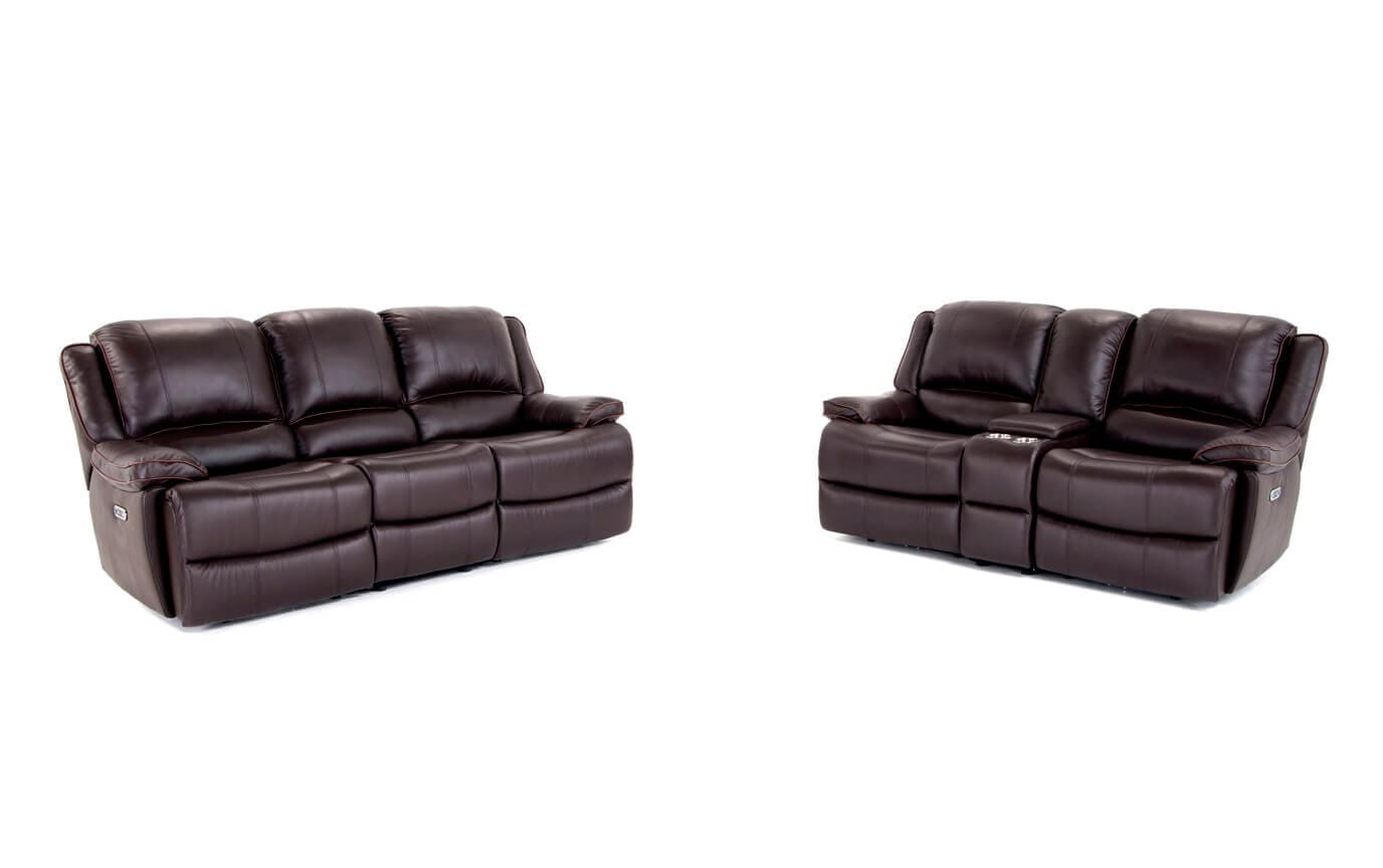 Phoenix Leather Power Reclining Sofa & Loveseat