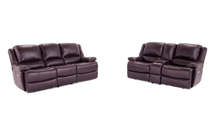 phoenix leather power reclining sofa loveseat bob s discount rh mybobs com leather power reclining sofa and loveseat set Tampa Power Reclining Leather Loveseat