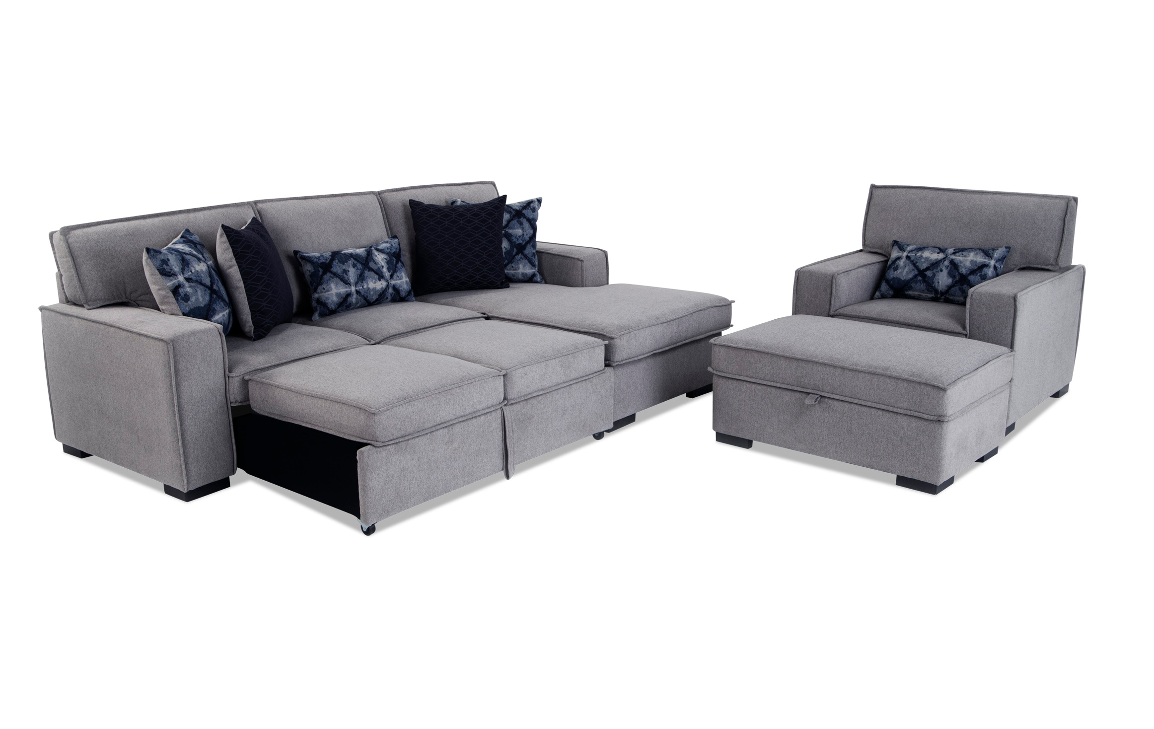 Picture of: Playscape Gray Left Arm Facing Sectional With Chair Ottoman Bobs Com