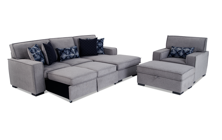 Playscape Gray Left Arm Facing Sectional With Chair