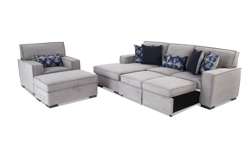 Playscape Right Arm Facing Sectional With Accent Chair U0026 Ottoman