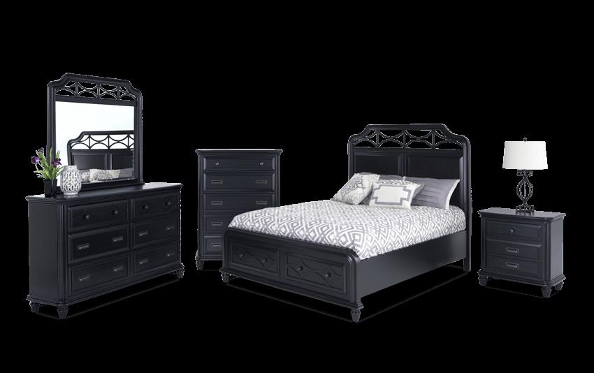 Mystic Bay Full Black Storage Bedroom Set