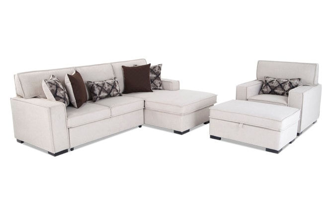 Playscape Left Arm Facing Sectional with Accent Chair & Ottoman