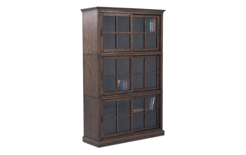 Trayton Brown 3 High Sliding Door Bookcase