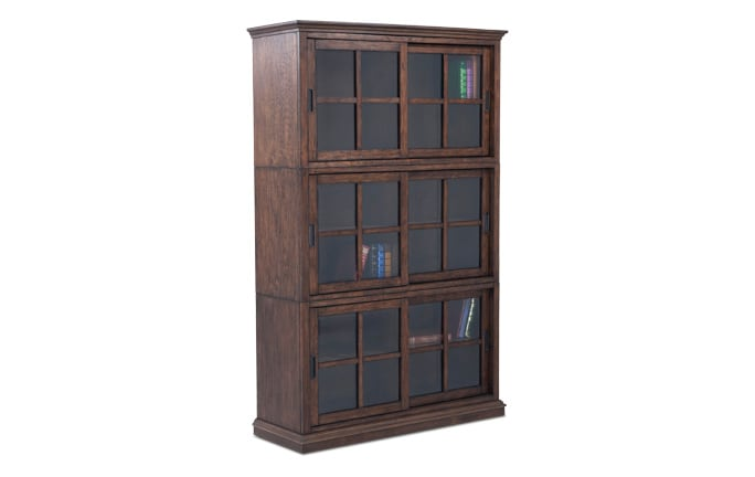 Trayton 3 High Sliding Door Bookcase