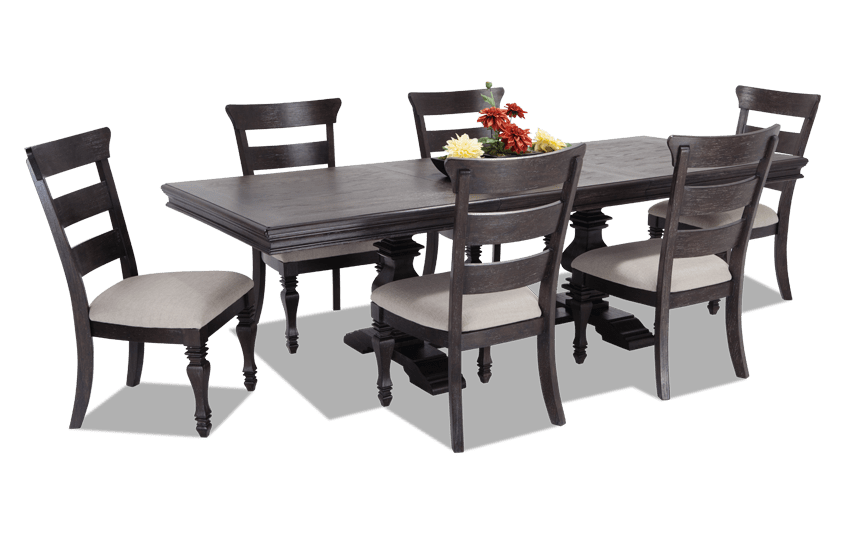 Riverdale 7 Piece Dining Set with Wood Side Chairs