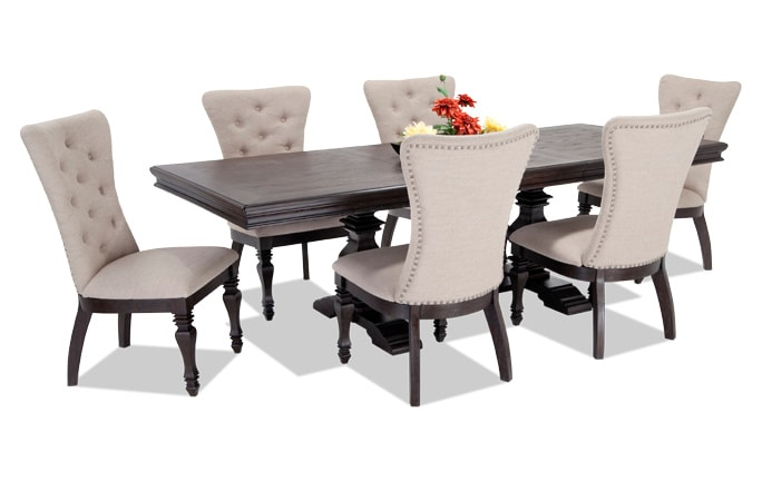 Riverdale 7 Piece Dining Set with Upholstered Chairs