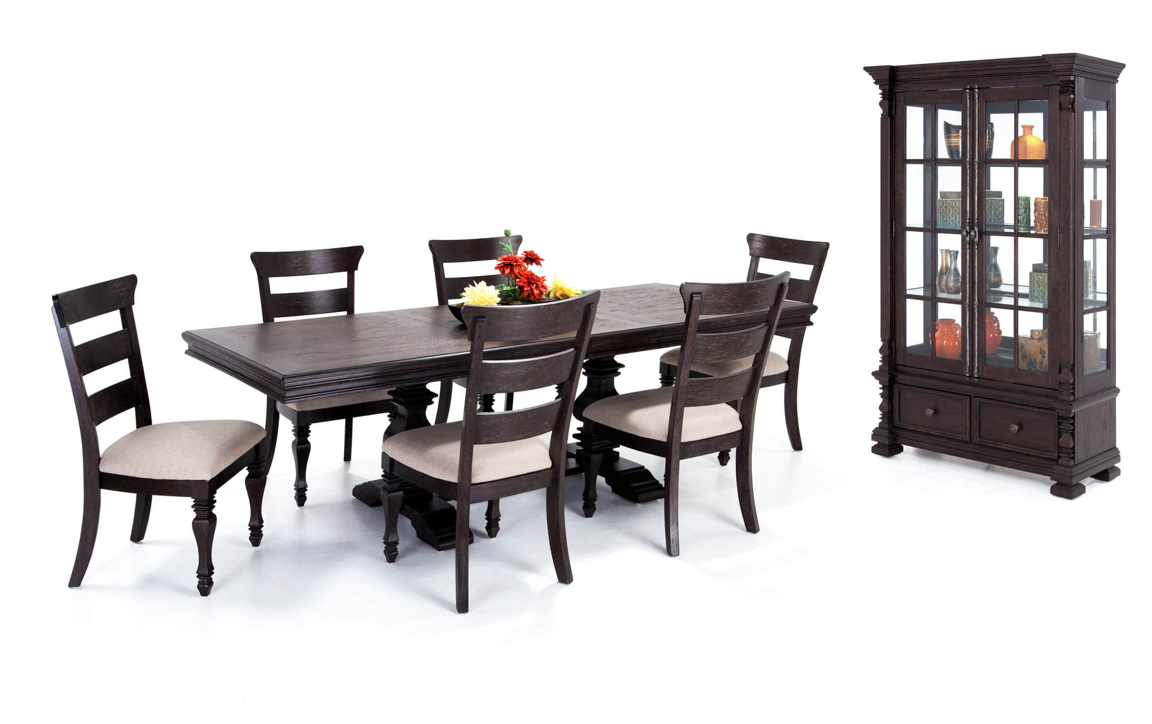 Riverdale 8 Piece Dining Set With Curio Wood Side Chairs Bobs Com