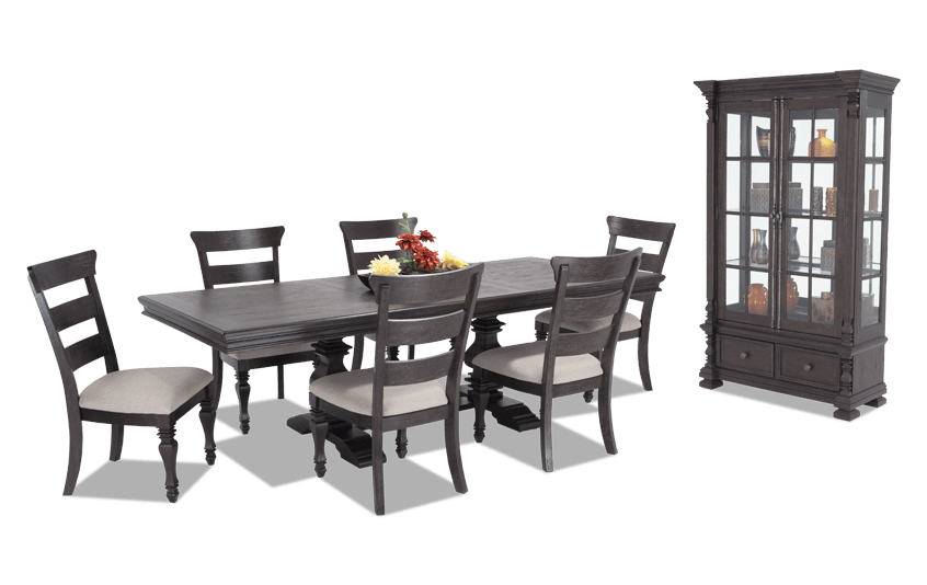 Riverdale 8 Piece Dining Set with Curio & Wood Side Chairs