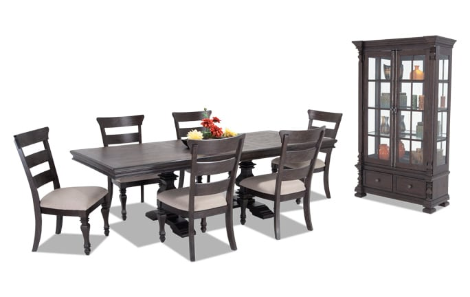 Riverdale 8 Piece Dining Set With Wood Side Chairs And Curio Cabinet
