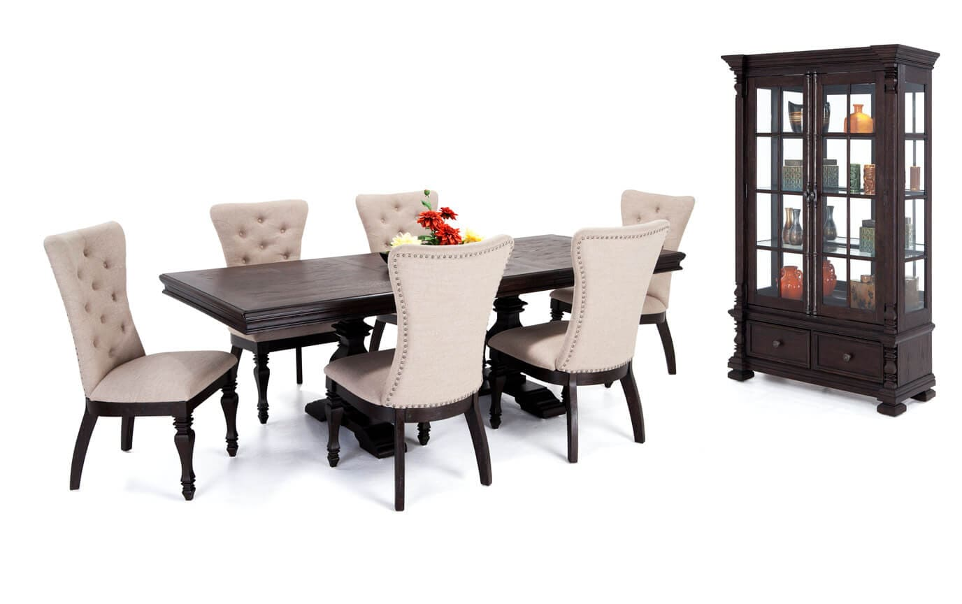 Riverdale 8 Piece Dining Set With Upholstered Chairs And Curio Cabinet