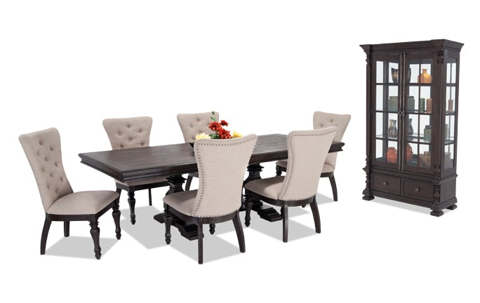Riverdale 8 Piece Dining Set with Curio & Upholstered Chairs