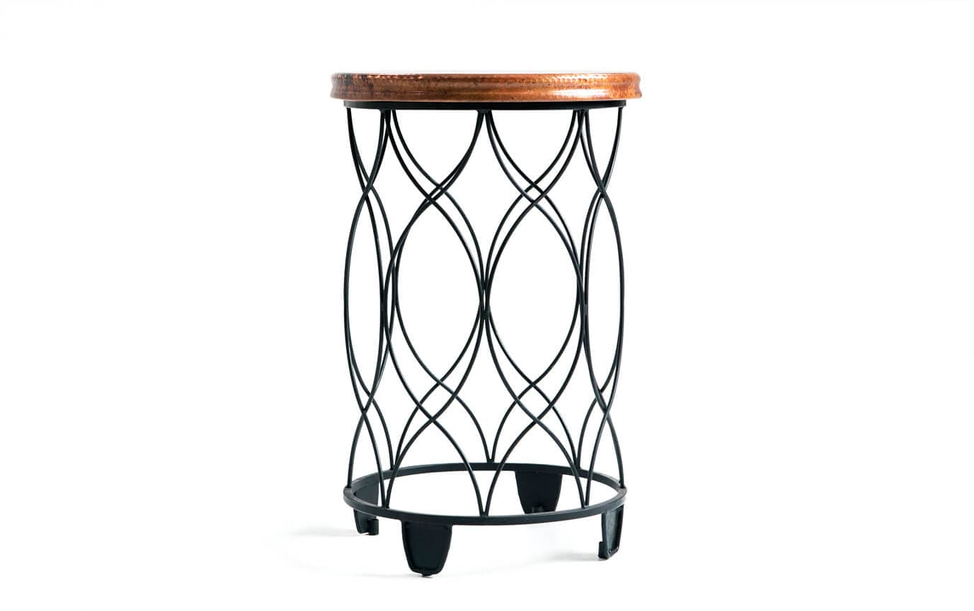 Seville round copper top side table bobs discount furniture
