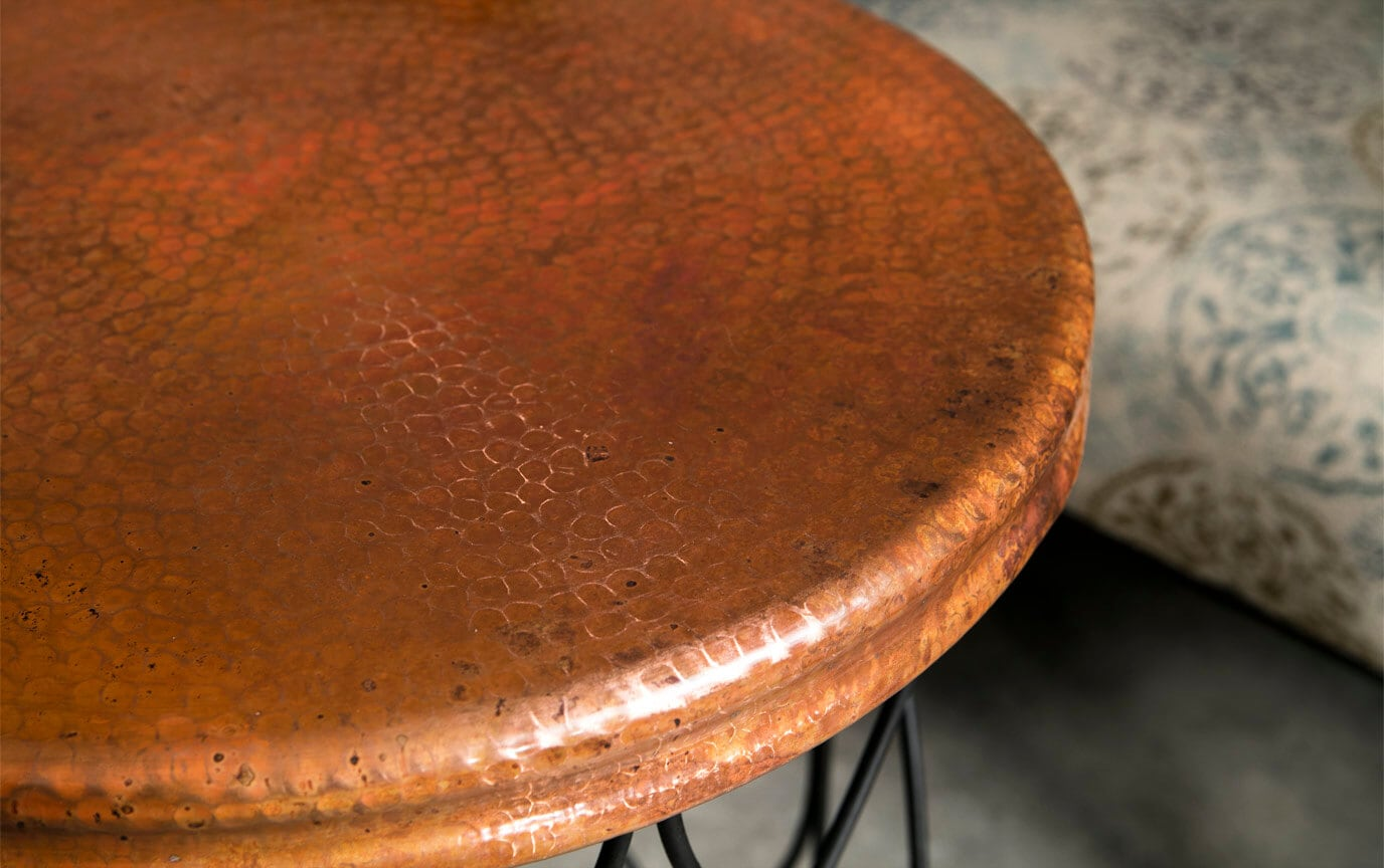 Seville Round Copper Top Side Table