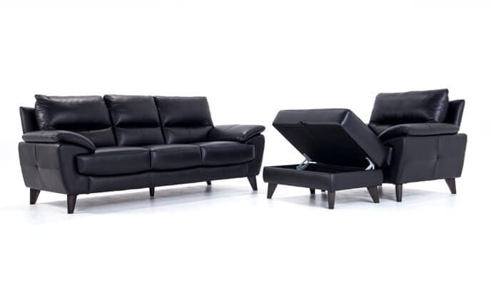 Galaxy Leather Sofa, Chair & Storage Ottoman