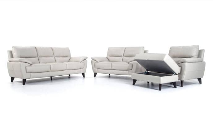 Galaxy Leather Sofa, Loveseat, Chair & Storage Ottoman