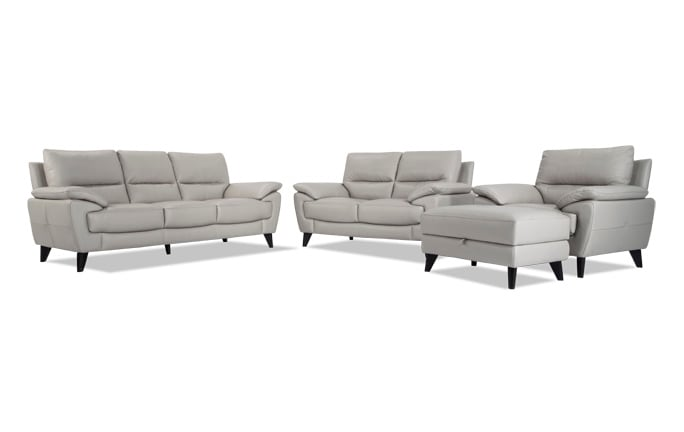 Galaxy Leather Sofa, Loveseat, Chair & Storage Ottoman
