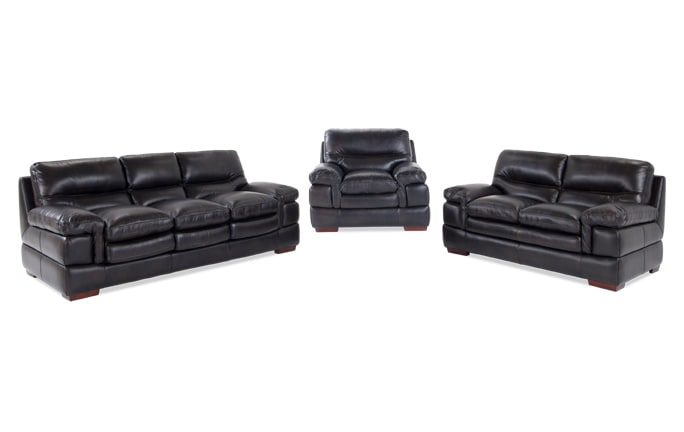 Carter Leather Sofa, Loveseat U0026 Chair ...