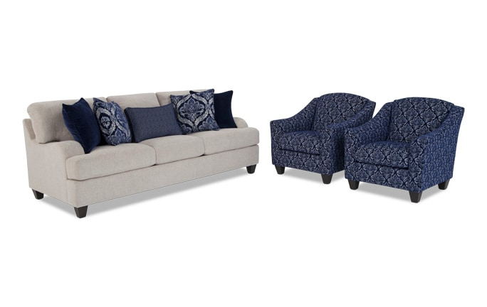 living room chair sets. Hamptons Sofa and Accent Chair Set Living Room Sets  Bob s Discount Furniture