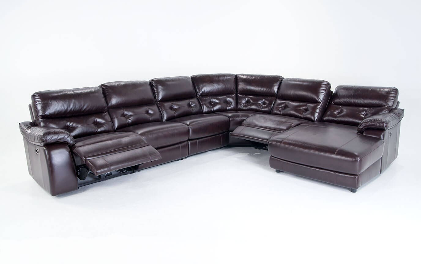 Excalibur Leather Power Reclining 6 Piece Left Arm Facing Sectional