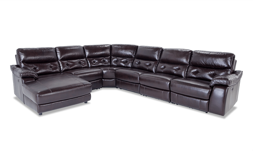 Excalibur Leather Power Reclining 6 Piece Right Arm Facing Sectional