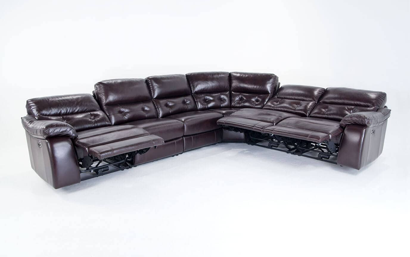 Excalibur Leather Power Reclining 6 Piece Sectional