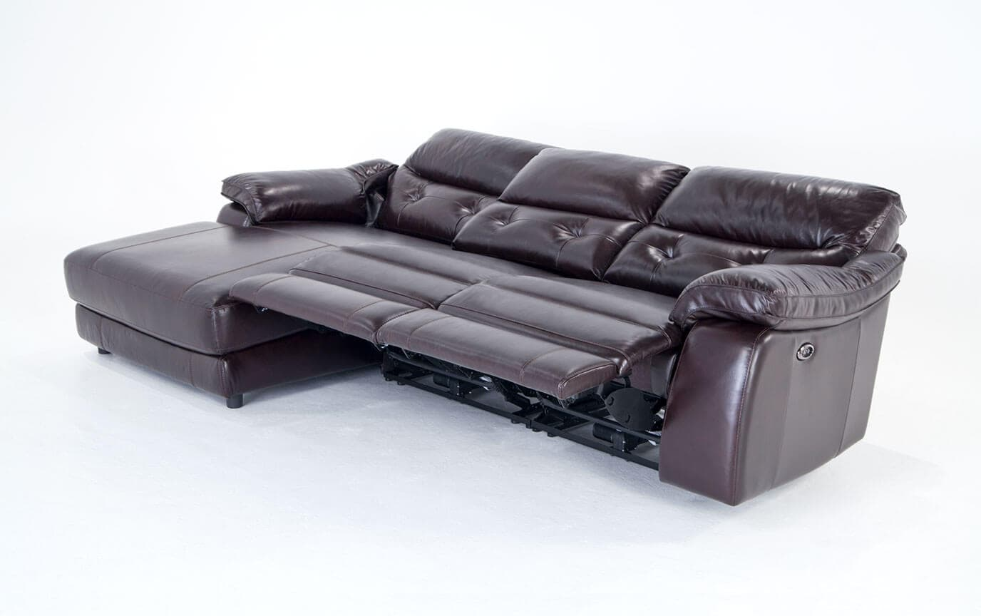 Excalibur Leather Power Reclining 3 Piece Right Arm Facing Sectional