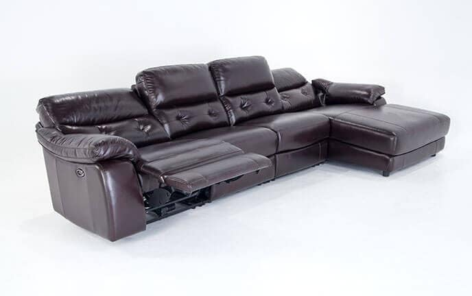 ... Excalibur Leather Power Reclining 4 Piece Left Arm Facing Sectional