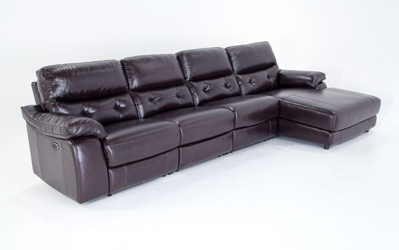 Excalibur Leather Power Reclining 4 Piece Left Arm Facing Sectional