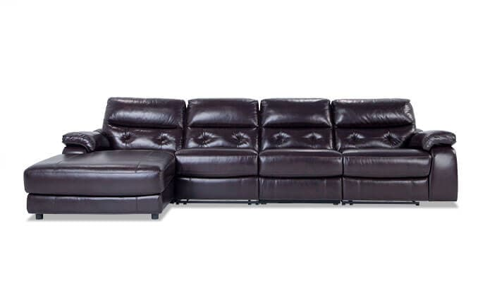 Excalibur Leather Power Reclining 4 Piece Right Arm Facing Sectional