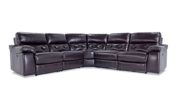 Excalibur Leather Power Reclining 5 Piece Sectional