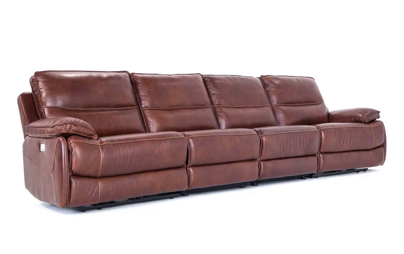 Zeus Leather Power 4 Piece Reclining Sofa