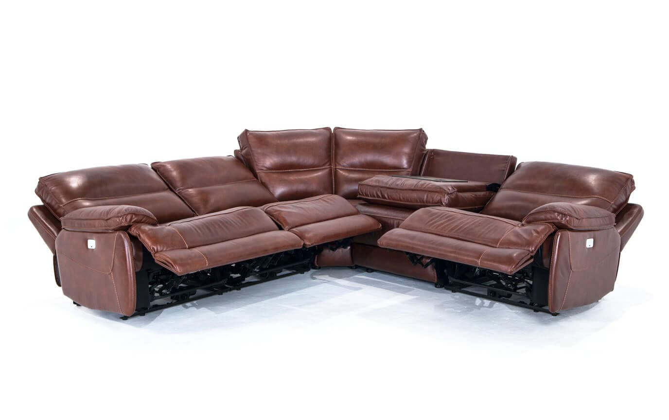 Zeus Leather Power Reclining 5 Piece Sectional