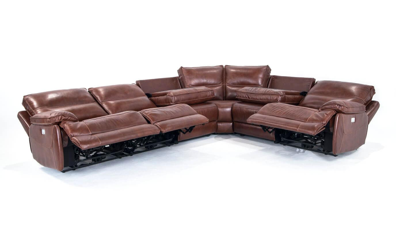 Zeus Leather Power Reclining 6 Piece Sectional