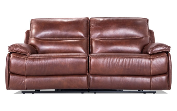 Zeus Leather Power Reclining Loveseat