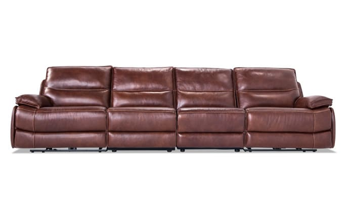 Zeus Leather Power 4 Piece Armless Reclining Sofa