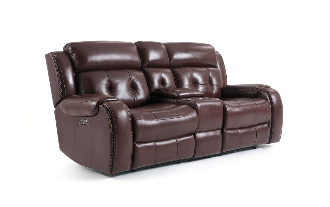 Magellan Power Reclining Leather Console Loveseat