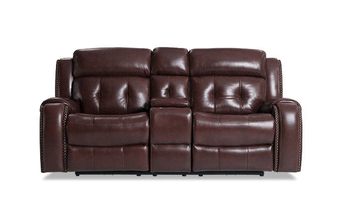 Magellan Leather Power Reclining Console Loveseat