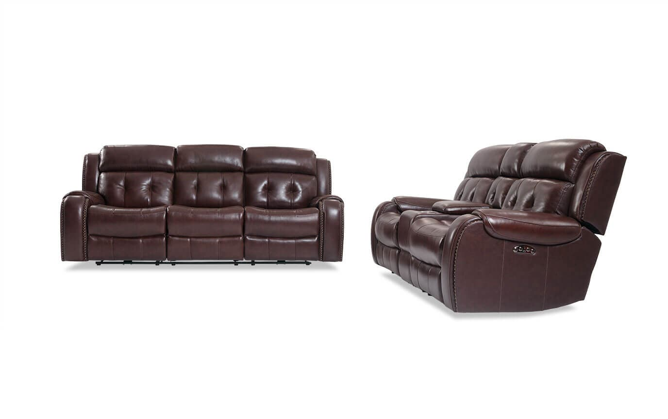 Magellan Reclining Leather Sofa Console Loveseat