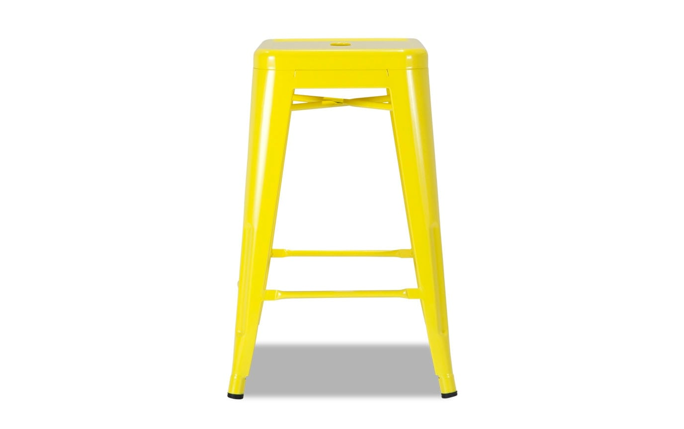 Yellow Metal Industrial Bar Stool