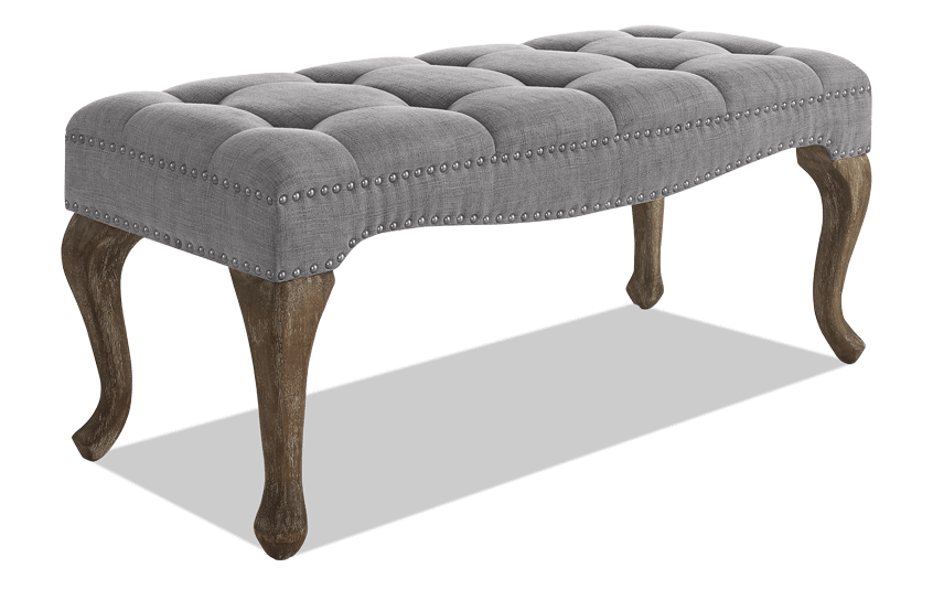 Vernice Gray Tufted Linen Bench