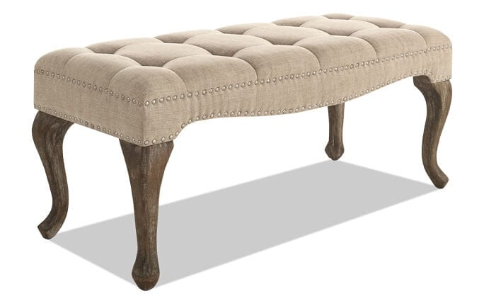 Vernice Natural Tufted Linen Bench